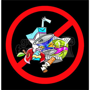no sign littering litter junk cartoon