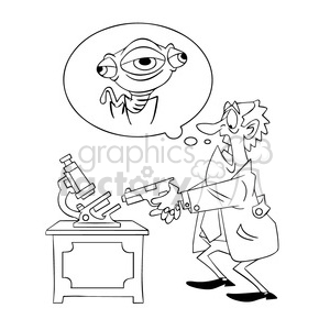scientist shooting his microscope alien bug outline clipart. Commercial use image # 394291