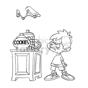 drawing of kid being watched by a camera clipart. Royalty-free image # 394331