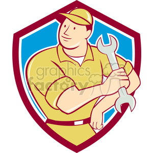 Mechanic hold spanner arm hip SHIELD clipart. Royalty-free image # 394341