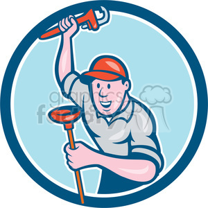 plumber wrench plunger standing frnt CIRC clipart. Royalty-free image # 394351