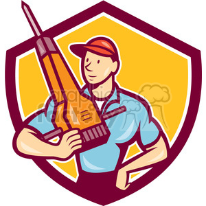 construction worker jackhammer frnt SHIELD clipart. Royalty-free image # 394381