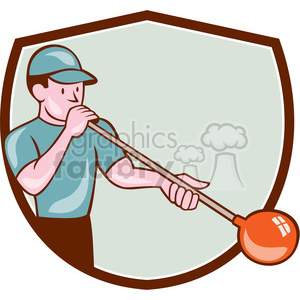 glass blower blowing front SHIELD clipart. Royalty-free image # 394411