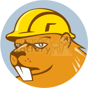 beaver CONSTRUCTION WORKER head CIRC clipart. Commercial use image # 394421