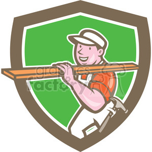 carpenter carry timber sideview SHIELD clipart. Royalty-free image # 394451