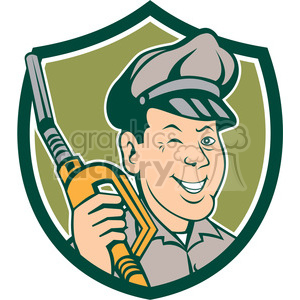 gas pump attendant winking SHIELD clipart. Royalty-free image # 394461