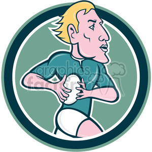 rugby player with ball side CIRC clipart. Commercial use image # 394481