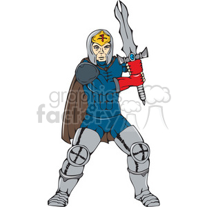knight wielding sword frnt CARTOON clipart. Royalty-free image # 394491