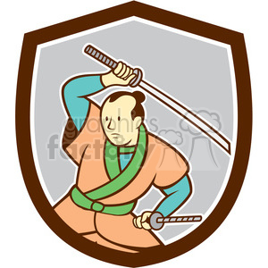 samurai warrior wielding sword SHIELD clipart. Royalty-free image # 394501