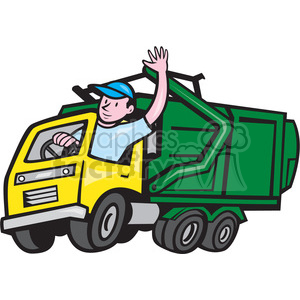 GARBAGE TRUCK driver wave ISO clipart. Royalty-free image # 394521