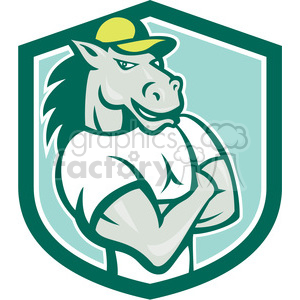 horse arms crossed SHIELD clipart. Royalty-free image # 394541