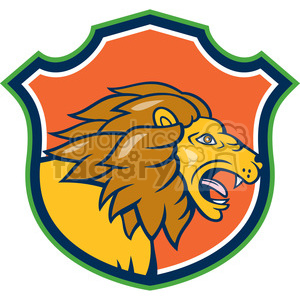 lion walking side HEAD SHIELD clipart. Royalty-free image # 394551
