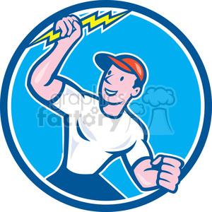 electrician lightning bolt standing circ