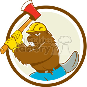 beaver wielding axe CIRC clipart. Royalty-free image # 394591