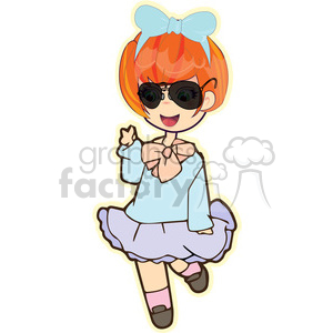 cute cartoon girl female sunglasses peace teenager cool