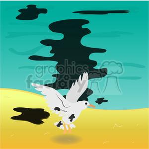 bird in an oil spill