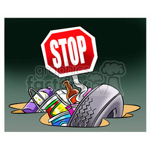 stop littering trash on earth clipart. Commercial use image # 394701