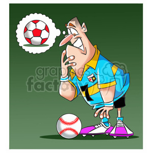 soccer player confused by a baseball clipart. Royalty-free image # 394761