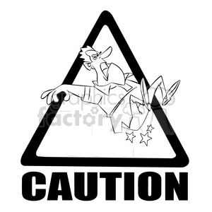 caution stairs sign with man falling black and white clipart. Royalty-free image # 394781