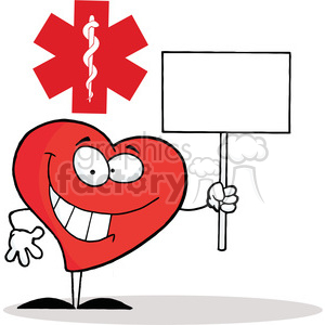 Friendly Heart Character Holding a Blank White Sign inFront of a Red Cross clipart. Royalty-free image # 378058