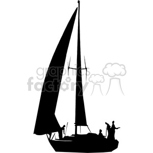 sailboat silhouette with people clipart. Royalty-free image # 394853