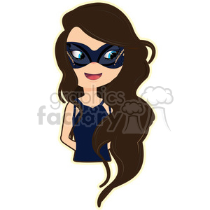Masquerade Girl cartoon character vector image clipart. Commercial use image # 394874