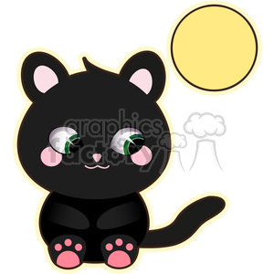 Halloween Black Cat cartoon character vector image clipart. Commercial use image # 394904