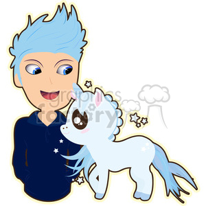 Unicorn and Boy cartoon character vector image clipart. Commercial use image # 394914