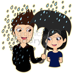 cartoon cute character rain spring summer storms man guy umbrella girl love relationship