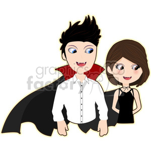 Vampire Pair cartoon character vector image clipart. Royalty-free image # 394944