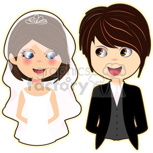 Bride and Groom cartoon character vector image clipart. Commercial use image # 394954