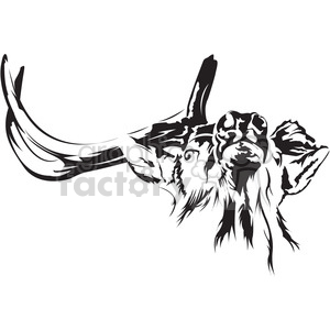 black and white Elk with broken antler clipart. Commercial use image # 394989