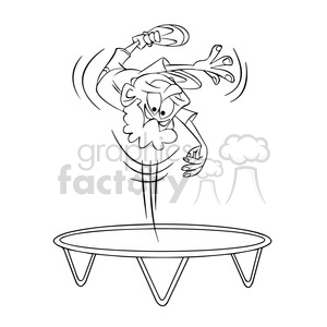 kid jumping on a trampoline black and white clipart. Commercial use image # 395117