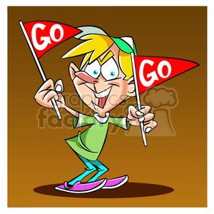 boy holding go flags for support clipart. Commercial use image # 395207