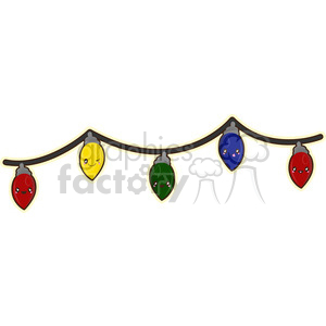 Christmas lights cartoon character vector clip art image