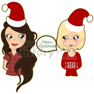 Christmas girls cartoon character vector clip art image clipart. Commercial use image # 395246