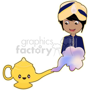 Genie cartoon character vector clip art image clipart. Commercial use image # 395266