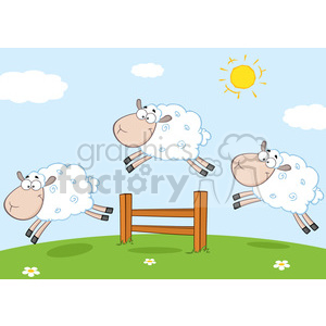 Royalty Free RF Clipart Illustration Three Funny Sheep Jumping Over A Fence clipart. Commercial use image # 395298