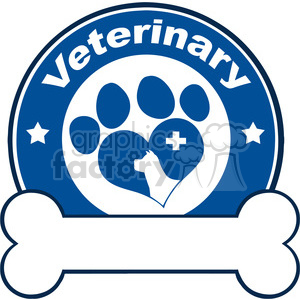 Illustration Veterinary Red Circle Label Design With Love Paw Dog, Cross And Bone Under Text clipart. Commercial use image # 395318