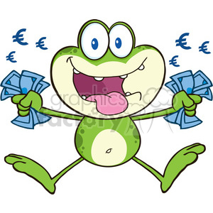 7287 Royalty Free RF Clipart Illustration Crazy Green Frog Cartoon Character Jumping With Euro clipart. Commercial use image # 395358