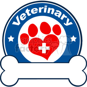 Royalty Free RF Clipart Illustration Veterinary Blue Circle Label Design With Love Paw Print,Cross And Bone Under Text clipart. Royalty-free image # 395378