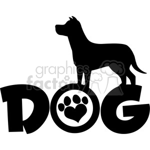 Royalty Free RF Clipart Illustration Dog Black Silhouette Over Text With Love Paw Print Vector Illustration Isolated On White Background clipart. Royalty-free image # 395388