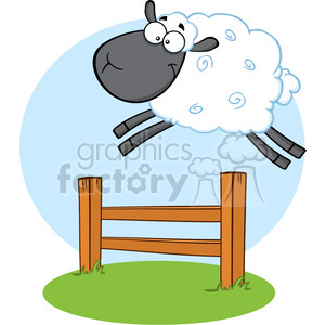 Royalty Free RF Clipart Illustration Funny Black Head Sheep Jumping Over The Fence clipart. Commercial use image # 395398
