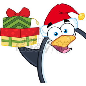 Royalty Free RF Clipart Illustration Smiling Penguin Cartoon Mascot Character Holding Up A Stack Of Gifts clipart. Royalty-free image # 395428