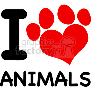 Royalty Free RF Clipart Illustration I Love Animals Text With Red Heart Paw Print clipart. Royalty-free image # 395488