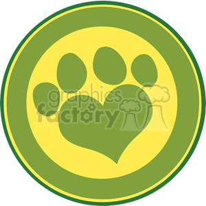 Illustration Love Paw Print Green Circle Banner Design clipart. Commercial use image # 395538