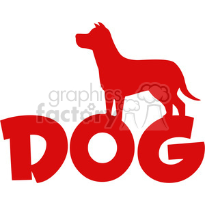 Royalty Free RF Clipart Illustration Dog Red Silhouette Over Text Vector Illustration Isolated On White Background