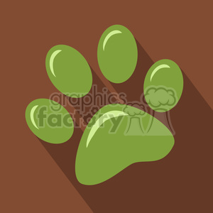 8249 Royalty Free RF Clipart Illustration GreenPaw Print Icon Modern Flat Design Vector Illustration