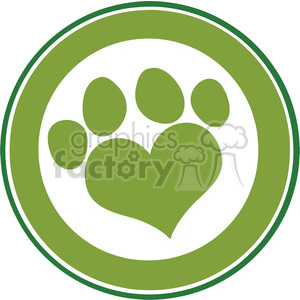 Royalty Free RF Clipart Illustration Love Paw Print Green Circle Banner Design