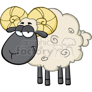 Royalty Free RF Clipart Illustration Cute Black Head Ram Sheep Cartoon Mascot Character clipart. Royalty-free image # 395638